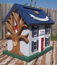 Small Wedding Card Box Birdhouse with Heart by mulberrylanefolkart