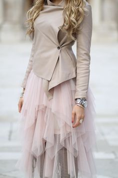 Layered pink tulle skirt and wrap jacket. via face it