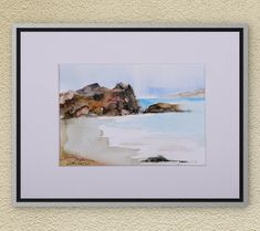 Watercolors-Original Watercolors Painting on Aquarelle, Landscape Aquarelle, Seascape Painting, Wall Art, Beach Painting, Sea,Waves, Sky