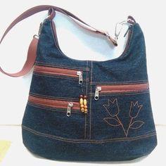 Soksebes tulipános farmer  pakolós női táska (ancsumancs) - Meska.hu Farmer, Jeans, Ted, Quilting, Crafts, Fashion, Denim Bag, Bags, Moda