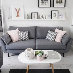 Beautiful living room idea with grey sofa, white open shelve and modern table
