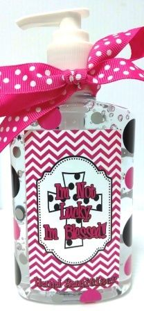 """Jodi's Accessories - """"I'm Not Lucky,I Am Blessed!"""" Chevron Print Hand Sanitizer, $6.00 (http://www.jodisaccessories.net/products/im-not-lucky-i-am-blessed-chevron-print-hand-sanitizer.html)"""