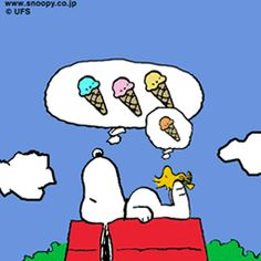 Snoopy and Woodstock dream of ice cream  #Peanuts  #Summer