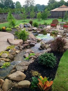 Nice Stream With Small Fall Next To Patio