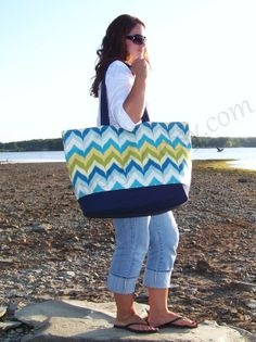 "Extra Large Beach Bags | EXTRA LARGE Beach Bag - ""Family Size"" Canvas Tote Bag in Ikat Chevron ..."