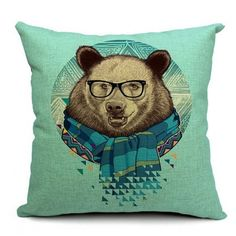Brown Bear with Scarf Pillow - from category Pillow Covers (Uniik Stuff)