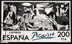 Picture of SPAIN - CIRCA A stamp printed in Spain shows painting by Pablo Picasso 'Guernica', circa 1981 stock photo, images and stock photography. Pablo Picasso, Picasso Guernica, Picasso Drawing, Postage Stamp Design, Postage Stamps, Bombing Of Guernica, Peace Art, Stamp Printing, Canadian Art