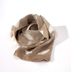 Brown Silk Charmeuse Scarf - Leaf - Natural Dyes
