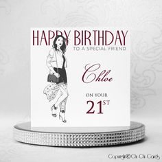 Luxurious Birthday Card - Style Fashionista  A beautiful #birthday card featuring a stylish #fashionista. She is wearing a white jacket, flowing skirt, #handbag over her shoulder, and killer heels! She also has #Swarovski #crystal #jewellery, with an #earring, #bracelet and #ring, and a further 2 crystals for her jacket buttons and one for the #bag fastener.