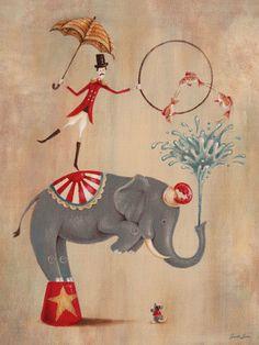 Vintage Circus Elephant Canvas Art