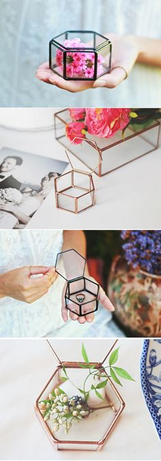We know you are unbelievably excited for what the future has in store for your friends getting married. Meanwhile, you might want to give them a unique gift so they can store their new bling. This glass geometric ring bearer box with its hexagon lid on top, is all devoted to keep the rings safe and to look beautiful at the same time. We bet they will love it!