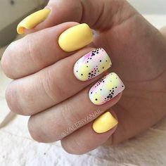 Fancy Nails, Love Nails, My Nails, Shellac Nails, Matte Nails, Manicures, Yellow Nails Design, Yellow Nail Art, Color Yellow