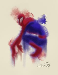 An abstract digital watercolor of your friendly neighborhood Spiderman.