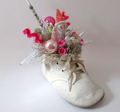 Shabby Chic Style Christmas Decoration Baby Shoe Silver Pink.