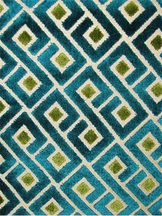 """Tether Teal Velvet jacquard fabric from Richloom fabric. Goemetric Greek Key pattern fabric. Thick and soft. Perfect for upholstery, drapery, top of the bed or any home décor fabric project. Contents 56% Polyester/44% Rayon. Repeat; V 4.5"""" x H 5.75"""". 55"""" wide"""