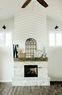 Custom Built Modern Farmhouse Home Tour with Household No 6 White shiplap over mantel, rustic barn wood beam mantel, stone hearth, vaulted ceiling. Shiplap Fireplace, Farmhouse Fireplace, Home Fireplace, Fireplace Remodel, Modern Fireplace, Fireplace Surrounds, Fireplace Design, Fireplace Mantels, Fireplace Ideas