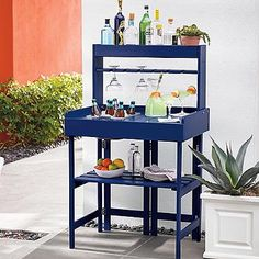 Grandin Road Convertible Bar and Potting Stand Outdoor Wood Furniture, Bar Furniture, Cabinet Furniture, Furniture Making, Garden Furniture, Galvanized Tub, Home Bar Decor, Outdoor Tables And Chairs, Outdoor Living