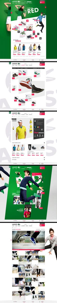 Wonderful magazine style layout for Lacoste. Food Web Design, Creative Web Design, Best Web Design, Webdesign Inspiration, Web Inspiration, Web Layout, Layout Design, Design Responsive, Graph Design