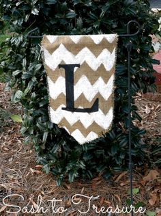 Hand Painted Burlap Monogrammed Garden Flag with Chevron Print. $15.00, via Etsy.