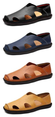 Men Breathable Hollow Out Soft Slip On Leather Casual Flat Shoes