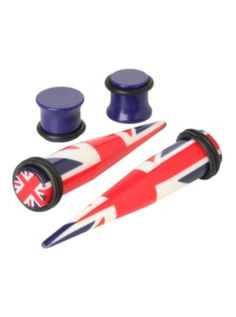 Acrylic Union Jack Taper And Plug 4 Pack