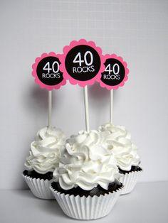 40 Felsen 40th Birthday Cupcake Toppers von CarasScrapNStampArt
