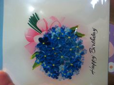 Blue Hydrangea paper quilling greeting card
