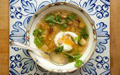 This garlic and cilantro winter soup recipe has Portuguese influences.