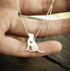 Labrador retriever tiny sterling silver necklace handmade
