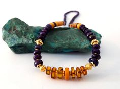 Amber Necklace Sugilite Necklace Purple Necklace 18k Gold