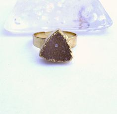 24kt Gold Dipped Druzy Geode Agate Ring Gold Plated by MoodTherapy, $29.95