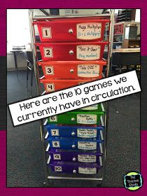 The Teacher Studio: Learning, Thinking, Creating: Bright Ideas! Math Game Organization dry erase labels for names of games in current use