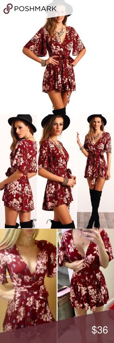 Wine Red Floral Shorts Romper Jumper Tie Jumpsuit NWT.  Beautiful, soft and fun poly-blend shorts summer play suit. Wrap around higher waisted tie front creates lovely V neck.  Sexy with just your bra or strappy bra (see ours in separate listings), or wear over a crop cami for more coverage.  Perfect for most any day or night time summer event.  True to fit.  Order your usual size. Measurements posted in first comment below.  We ship fast, offer bundle discounts, and include a free gift with…