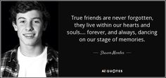 "Discover Shawn Mendes famous and rare quotes. ""True friends are never forgotten, they live within..."""