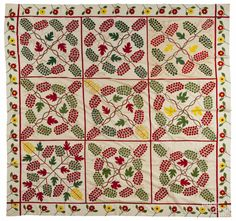 """Baltimore appliqué quilt top, ca. 1850, signedSarah Cobb, with nine blocks with grapevines, 99"""" x 99"""", Pook & Pook"""