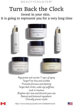 Turn back the clock with Beautycounter Skin Care products.  Rejuvenate and counter signs of aging.  Oils, lotions, serums, washes and balms we have it all.  http://www.beautycounter.com/debbiehoward