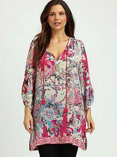 cc9d3a09bd6a4 Tolani Plus Size Long Silk Printed Tunic Silk Tunic