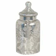 "Lidded mercury glass jar with a subtle floral motif.   Product: Lidded jarConstruction Material: Mercury glassColor: SilverDimensions: 10"" H x  4.5"" Diameter"