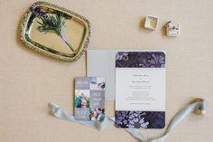 garden wedding invitation, lavender boutonniere, purple damask wedding invitation suite  from garden wedding inspiration at Oatlands Plantation Manor House in Leesburg Virginia