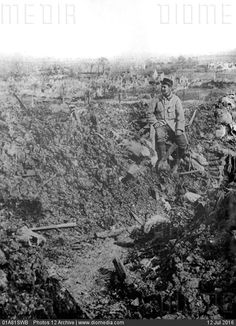 World War I, France, 1915. The ruins of Carency seen from a former German trench at Hill 125. Credit: Photos 12 Archive.- stock photo