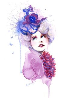 Hunger Games Catching Fire Effie   Watercolor por sookimstudio