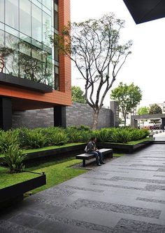 A Beautiful material selection at the Coyoacán Corporate Campus Landscape by DLC Architects.
