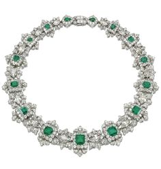 AN IMPORTANT EMERALD AND DIAMOND NECKLACE, CARTIER Designed as a graduated series of step-cut emeralds within scalloped frames of circular- and single-cut diamonds interspersed with foliate links each centring on a navette-shaped diamond, Emerald Necklace, Emerald Jewelry, Diamond Pendant Necklace, Diamond Jewelry, Diamond Necklaces, Turquoise Jewellery, Pearl Necklace, Cartier Jewelry, Antique Jewelry