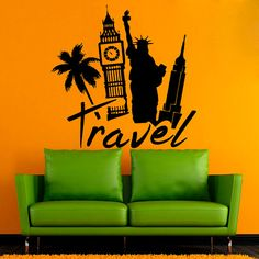 Travel Wall Decals Famous World Cities Decal NYC London Sticker Home Decor Travel Wall, World Cities, Nature Decor, Living Room Art, Vinyl Art, Wall Decals, Bedroom Decor, Sticker, Nyc