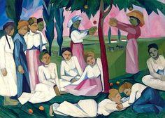 Goncharova, Natalia (1881-1962) - 1909 Picking Apples (Christie's London, 2007) //   In November 2007, Bluebells, (1909), brought £3.1 million ($6.2 million), setting a record for any female artist.