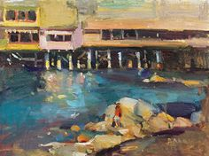 Rock Climber (Near Fisherman's Wharf in Monterey, CA) by Jill Banks Oil ~ 12 x 16 Fisherman's Wharf, California Art, Climbers, Banks, Oil, Painting, Painting Art, Paintings, Painted Canvas