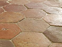 French Terracotta Hexagon Handmade Clay Floor Tiles    www.lapicida.com    French Terracotta Hexagon. Beautifully tessellated 17th Century handmade clay floors from country houses nestled in the Loire Valley.