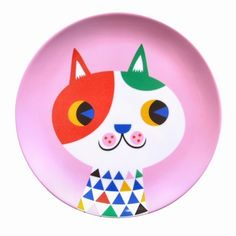 #Melamine #plate #Cat by @helen dardik from www.kidsdinge.com https://www.facebook.com/pages/kidsdingecom-Origineel-speelgoed-hebbedingen-voor-hippe-kids/160122710686387?sk=wall