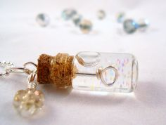 Tiny Bubble Soap Glass Bottle Necklace