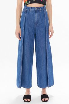 C/meo Collective Process Pleated Wide Leg Jean Cropped Trousers, Wide Leg Trousers, Wide Leg Jeans, High Waist Jeans, Boyfriend Jeans Style, Mom Jeans, Oversized Jeans, Zara Jeans, Denim Fashion